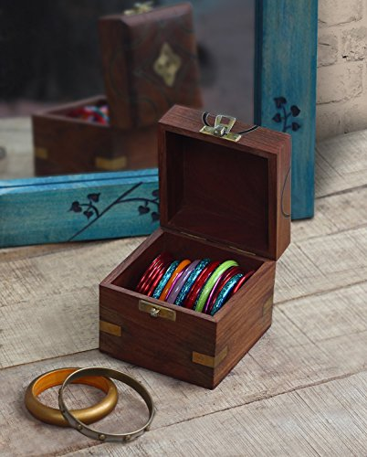 Trinket Box Wooden Small Square Keepsake Box Handcrafted Fine Celtic Inlaid Multipurpose Organizer (Kind Handcrafted Gift Box)