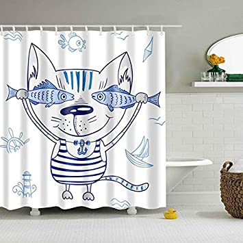 JHTRSJYTJ New Colorful Eco-Friendly Animal Duck Shark Wolf Dinosaur Poliestere di Alta qualit/à Lavabile Bagno Decor Tende da Doccia