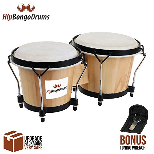"Bongo Drum Set for Adults Kids Beginners Professionals [Upgrade Packaging] - 2 Sets 6"" and 7"" Tunable Percussion Instruments - Natural Animal Hides Hickory Shells Durable Wood Metal with Tuning Wrench"
