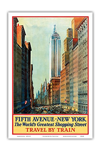 Fifth Avenue, New York - The World's Greatest Shopping Street - Travel by Train - Vintage Railroad Travel Poster c.1932 - Master Art Print - 12in x - Shopping 5th Avenue