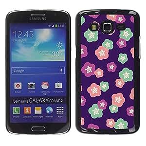 For Samsung Galaxy Grand 2 II / SM-G7102 / SM-G7105 Case , Teal Floral Pattern Flowers Spring - Diseño Patrón Teléfono Caso Cubierta Case Bumper Duro Protección Case Cover Funda