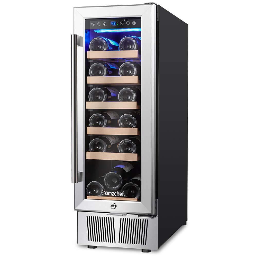 Wine Cooler, Built-in or Freestanding, AMZCHEF 19 Bottle Wine Refrigerator, Quiet, Constant Temperature, Energy Efficient