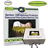 Crib Mattress Protector Pad 2/pack ORGANIC BAMBOO All-IN-ONE crib sheets / protector by Green Comfy Baby WATERPROOF fitted sheet crib pad cover 11'' NO CHEMICAL HYPOALLERGENIC BLOCK DUST MITE