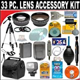 33 PC ULTIMATE MONSTER SUPER SAVINGS DELUXE DB ROTH ACCESSORY KIT, INCLUDES LENSES, FILTERS, VIDEO LIGHT, ACCESSORIES AND MUCH MORE! For The Canon Elura 100, Optura S1 Mini DV Camcorders