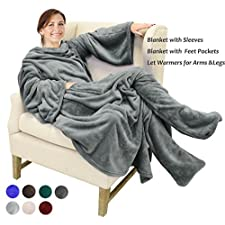 fc0d2855a1 Catalonia Wearable Fleece Blanket with Sleeves   Feet pockets for Adult  Women Men