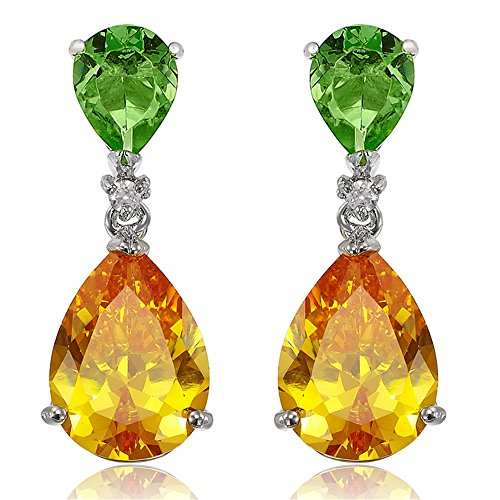 [RIZILIA CELEBOX] Teardrop Dangle Pierced Earrings with Pear Cut CZ [Multi-color Cubic Zirconia] in White Gold Plated, Celebrity inspired by Angelina (Multi Coloured Gemstone Earrings)