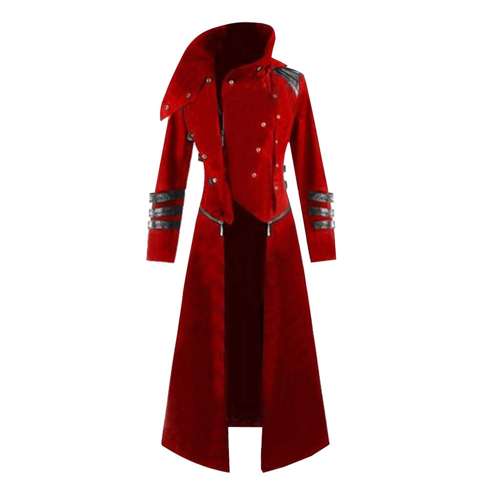 Mysky Fashion Mens Retro Gothic Steampunk Hooded Trench Party Costume Men Casual Solid Tailcoat Jackets Coat