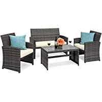 Best Choice Products 4-Piece Wicker Patio Furniture Set...
