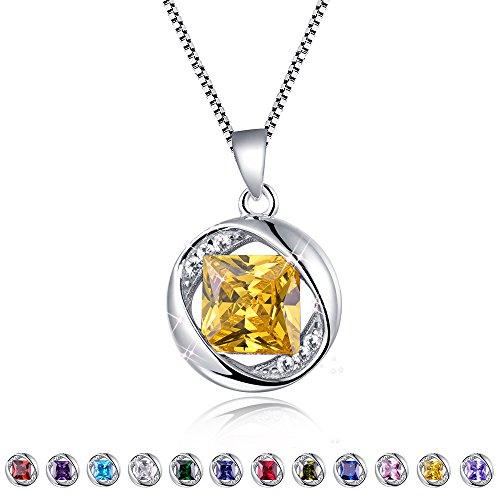 Aurora Tears Created-Topaz Pendant November Birthstone Necklace for Women 17.7