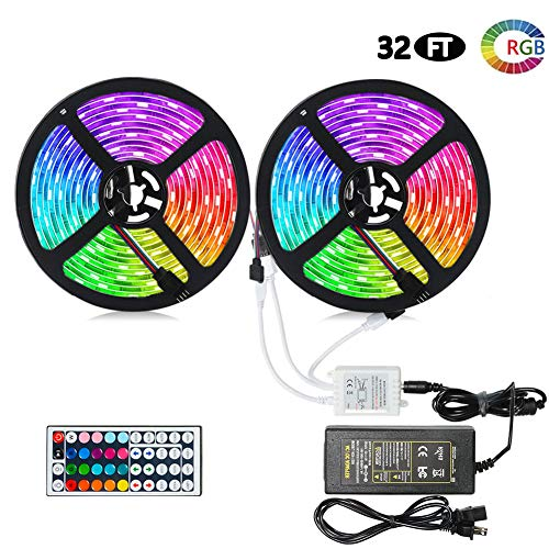 Litake LED Strip Lights, Waterproof 10M/32.8ft 300 LED RGB Color Changing LED Strip Light Kit, SMD 5050 Light Tape with 44 Keys IR Remote Controller and 12V 5A Power Supply