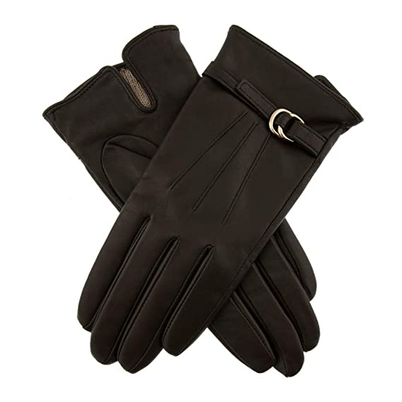 Dents Womens Lillian Leather Touchscreen Gloves with Buckle