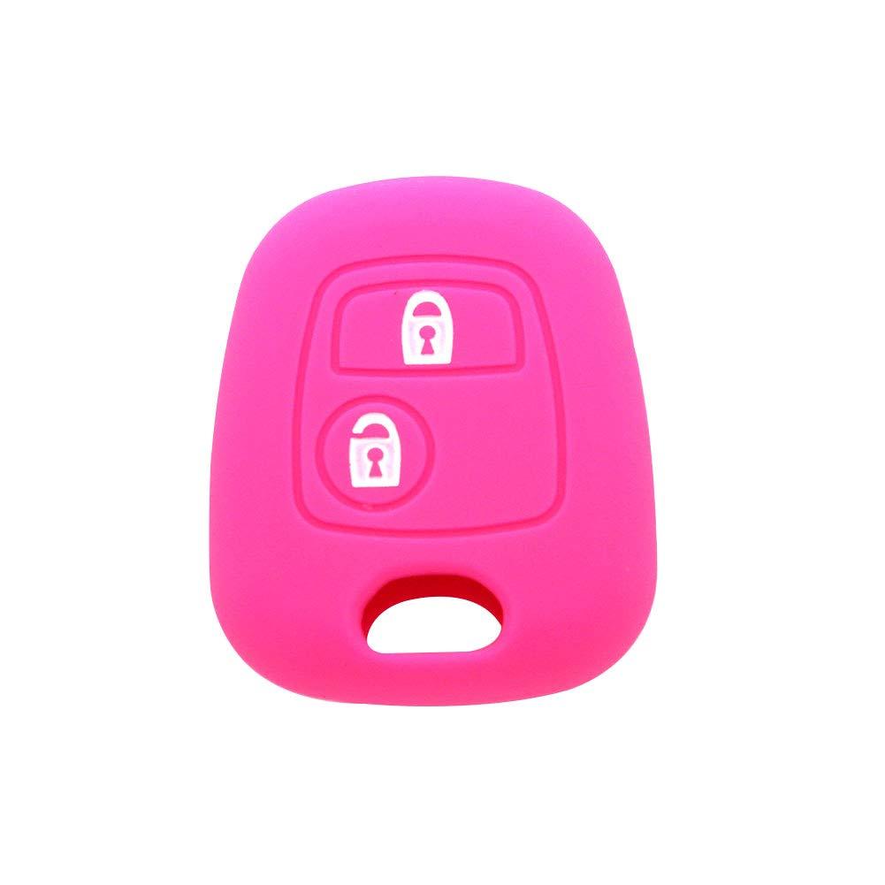 2 boutons en silicone Pour Peugeot Rouge Housse de protection pour cl/é de voiture YSHTANJ/®