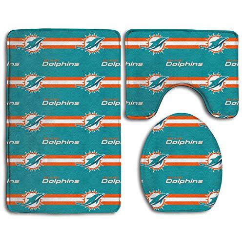 Sorcerer Custom Colorful Doormat American Football Team Miami Dolphins Indoor Bathroom Anti-Skid Mats,3 Piece Non-Slip Bathroom Rugs,Non-Slip Mat Bath + Contour + Toilet Lid