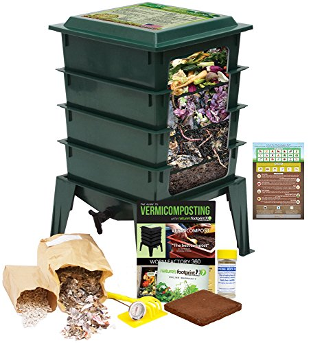 """Worm Factory 360 Worm Composting Bin + Bonus """"What Can Red Wigglers Eat?"""" Infographic Refrigerator Magnet (Green) - Vermicomposting Container System - Live Worm Farm Starter Kit for Kids & Adults from The Squirm Firm"""