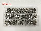 Wang-Data 50 Sets M6 Square Hole Hardware Cage Nuts & Mounting Screws Washers for Server Rack and Cabinet (M6 X 20mm)(screw+washer+cage nut)