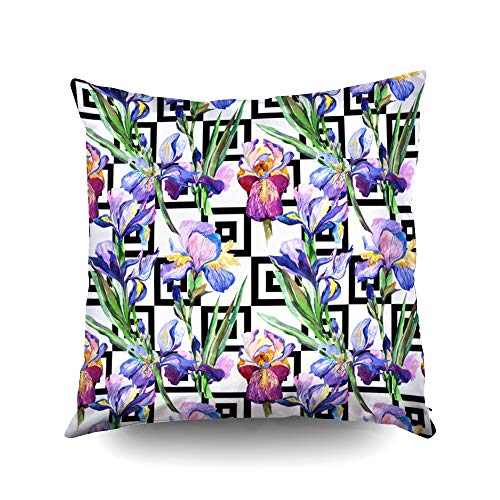 ROOLAYS Soft Pillow Case, Square Throw Pillowcase Covers 18X18Inch, Wildflower Iris Flower Pattern in Watercolor Style Full Name The Plant Aquarelle Wild Both Sides Farmhouse Decor Cushion