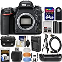 Nikon D750 Digital SLR Camera Body with 64GB Card + Case + Battery & Charger + Grip + Tripod + Kit