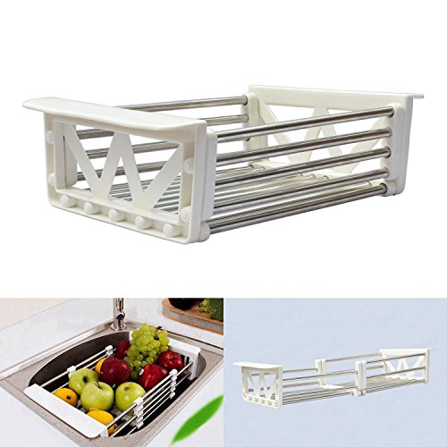 Tableware Drying Rack Telescopic Stainless Steel Drain Basket Dish Racks Wash Vegetable Fruits Hanging Basket Tableware Dry (Basket Drain)