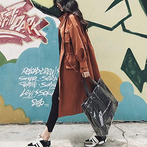 De Métal Manches Brown Femmes Col Veste Coat Trench La Stand Snap Survêtement Bouton Mode Manteau À Décoration Taille Longues xSF4pzqw
