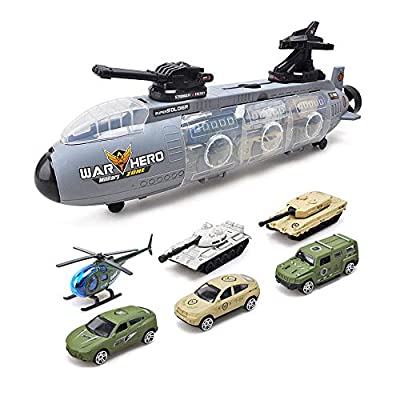 Aolvo Alloy War Machine Land Submarine Aircraft Carrier, Car Carrier Toy with 6 Vehicles, Cannon Power Gun & Spray Gun, Best Novelty Toys for Son, Boy, Child Who Dream to Be a War Hero