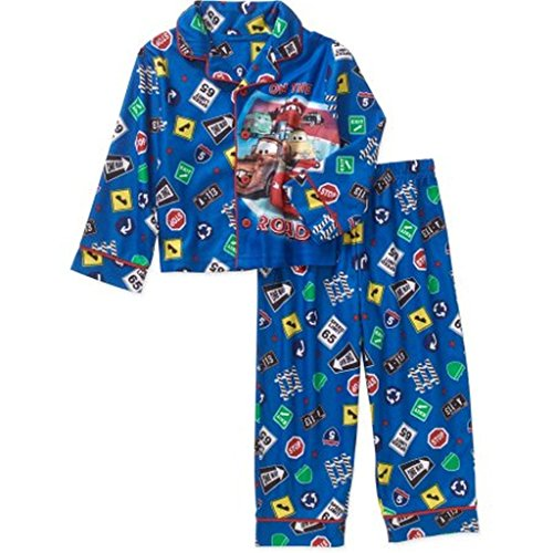 Disney Cars McQueen Mater Boy's 3T Flannel Coat Pajama Set, PJ's Blue