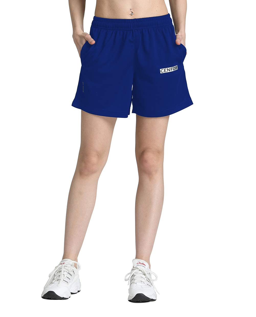 CENFOR Women's 5'' Quick Dry Workout Running Shorts with Pockets for Gym, Training, Jogging and Leisure (Blue, XL) by CENFOR