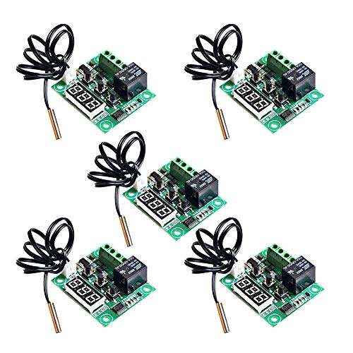 CTYRZCH 5 Pack 12V DC Digital Cooling Heating Thermostat Temp Control -50-110 c Temperature Controller 10A Relay With Waterproof Sensor Probe