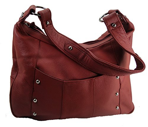 Leather Concealed Carry Gun Purse Left/Right Hand W/ Locking Zipper Red - Left Hand Zipper
