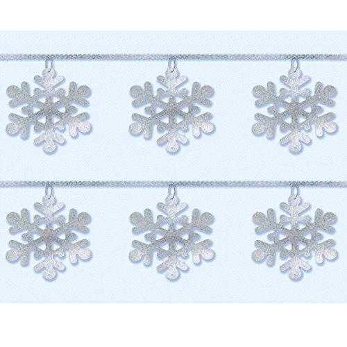 Winter Wonderland Christmas Party Snowflake Sequin Ring Garland Decoration, Silver, Foil, 9 Feet, (Winter Wonderland Balloon Centerpieces)