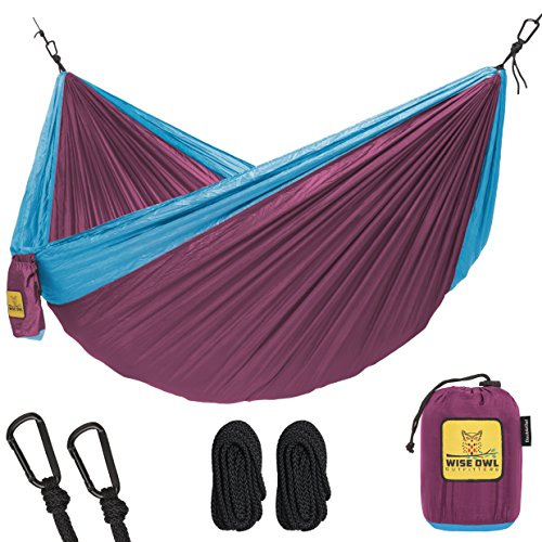 Hammock for Camping Single & Double Hammocks - Top Rated Best Quality Gear For The Outdoors Backpacking Survival or Travel - Portable Lightweight Parachute Nylon DO Fuchsia Sky Blue (Cradle Double)
