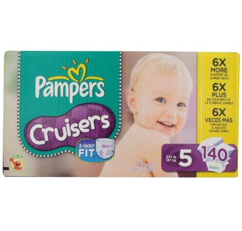 Pampers Cruisers Diapers Size 5 Economy Pack Plus. 140 Count