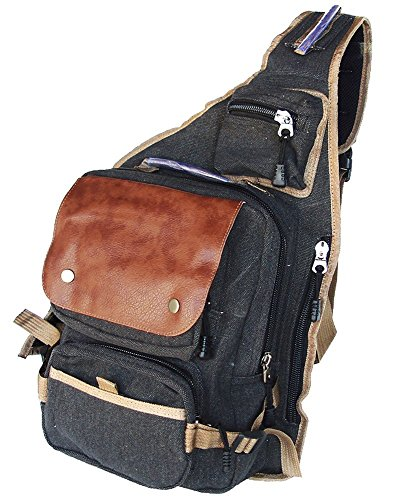 Military Inspired Canvas Sling Bag Backpack Daypack Black