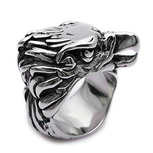 Star Lord Costume Walmart (Stainless Steel Ring for Men, Eagle Head Ring Gothic Silver Band 3020MM Size 13 Epinki)