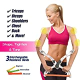 Upper Arm Exerciser, Strengthens Brawn Training Device Forearm Wrist Force Fitness Equipment with 3 Resistance Bands,Neat and Portable Arms Workout Machine White