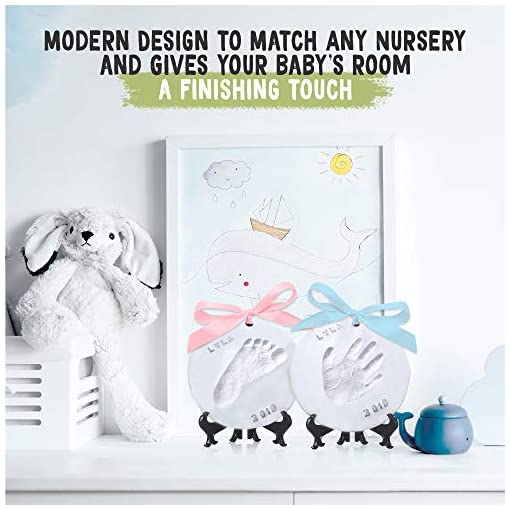 Nursery Decor Personalized Registry Handprint /& Footprint Clay Casting Kit Unique Baby Shower Gift Ideas for Newborn Boys and Girls Baby Ornament Keepsake Kit