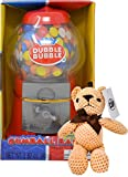 Classic Dubble Bubble 8.5 Inch Gumball Machine Coin Bank with Dubble Bubble Gumballs and By The Cup Teddy Bear