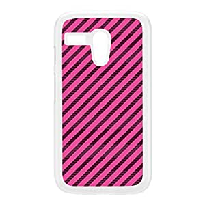 Diagonal Stripes - Pink White Hard Plastic Case for Moto G by Gadget Glamour + FREE Crystal Clear Screen Protector