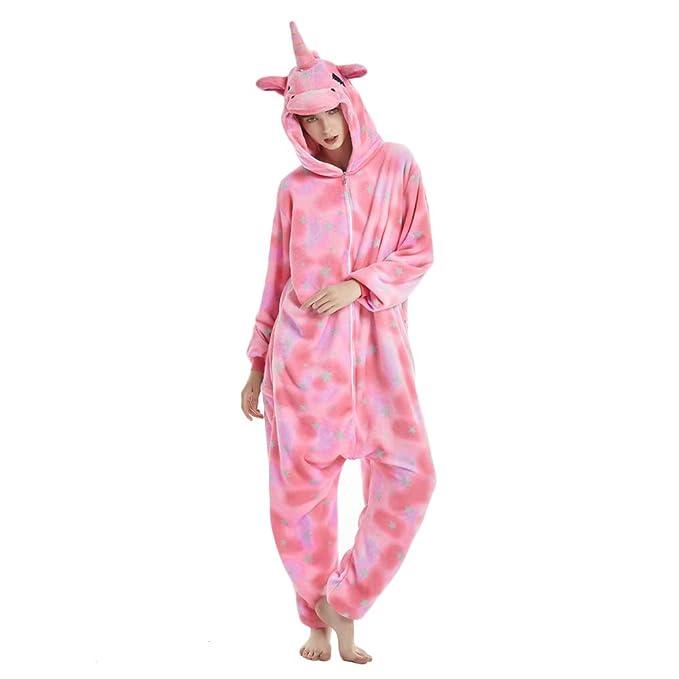 Unicornio creativo Unicornio pijama traje de noche Cosplay Unicornio Onesies para adultos (M, rosado)