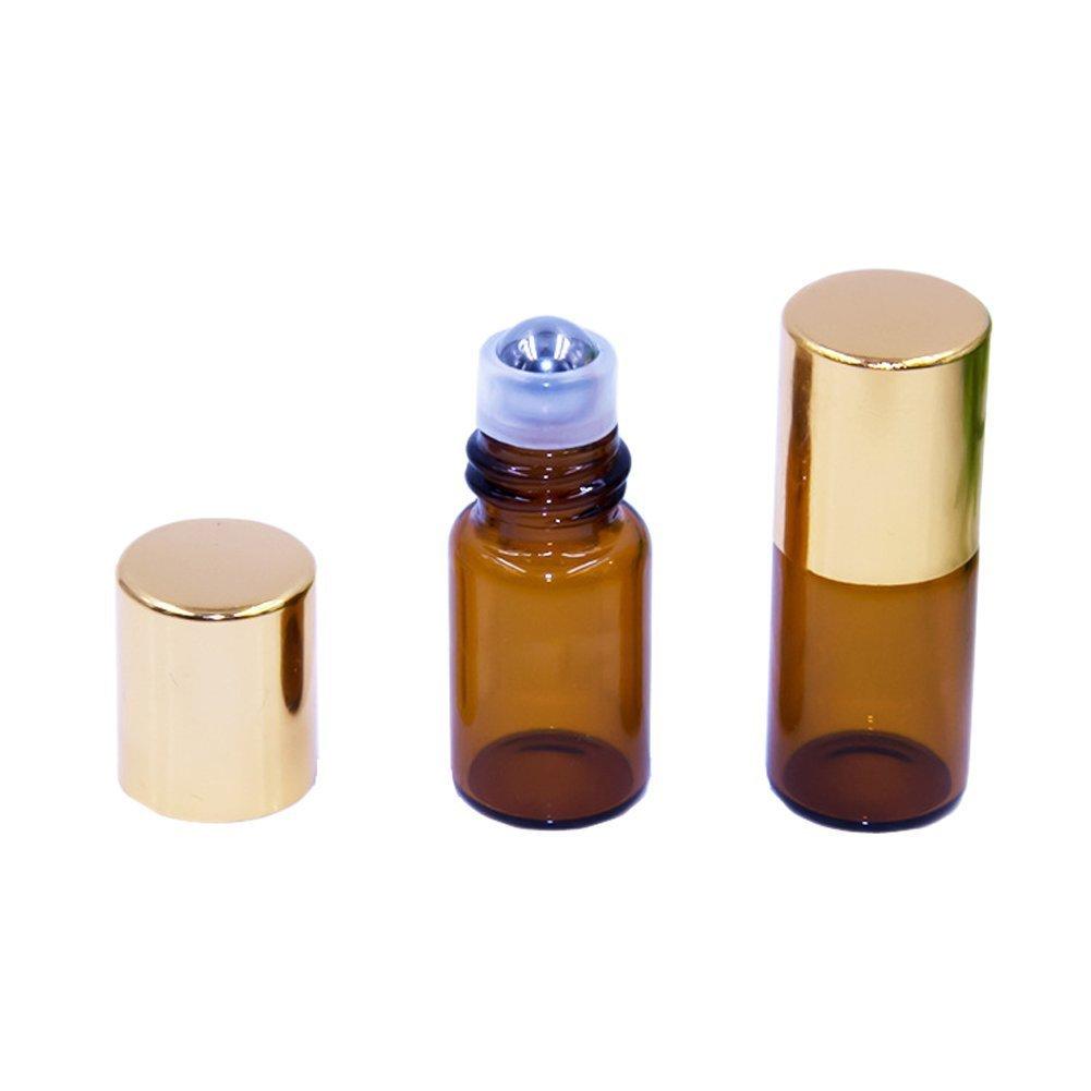 人気大割引 10個ミニキュート2.5 MLアンバーガラスボトルEssential cap Oilローラーボトル詰め替え可能旅行空ローション香水液体リップクリームRoll On Bottles gold Bottles B071D1814T cap B071D1814T, どんまい:d863f745 --- egreensolutions.ca