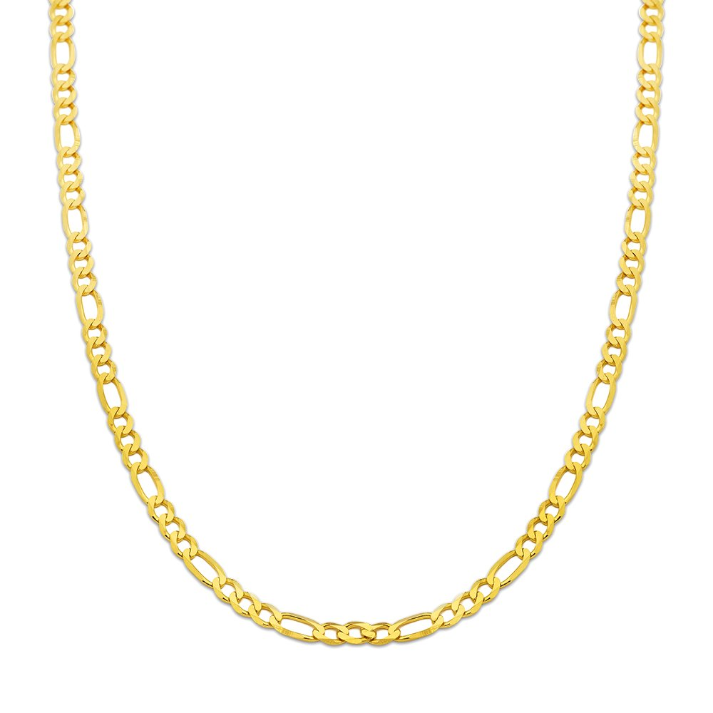 10K Yellow Gold 5.5mm Solid Figaro Chain Necklace (24 inches)