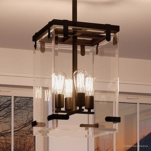 Luxury Modern Farmhouse Pendant Light, Medium Size 28.375 H x 14.75 W, with Industrial Chic Style Elements, Olde Bronze Finish and Clear Shade, UHP2442 from The Bristol Collection by Urban Ambiance