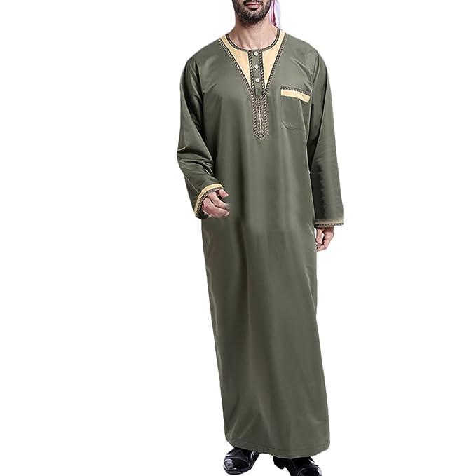 Zhhlinyuan Mens Muslim Dress Abaya Islamic Long Sleeve Robes Arab Middle  East Saudi Style Thawb Caftan aecdc5270