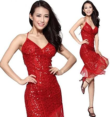 Latin Dance Dresses Women's Performance Spandex,Polyester Sequins JINGYU