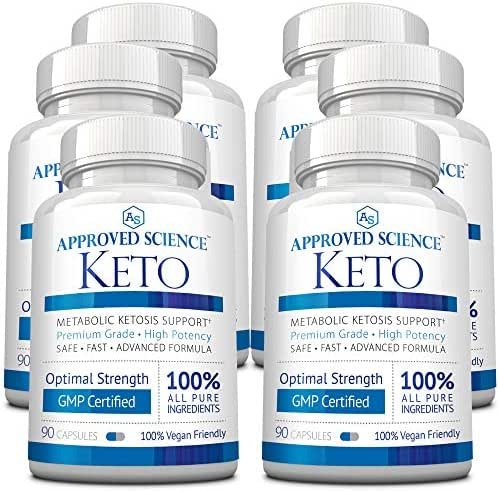 Approved Science® Keto: Pure Exogenous 4 Ketone Salts (Calcium, Sodium, Magnesium and Potassium) and MCT Oil to Boost Ketosis. 6 Bottles