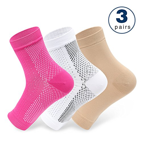 Plantar Fasciitis Compression Socks, 20-30 mmHg Foot Sleeves Ankle Sleeve for Ankle/Heel Support, Relieve Foot Arch Pain, Increase Blood Circulation, Reduce Foot Swelling(3 Pairs,6-10)