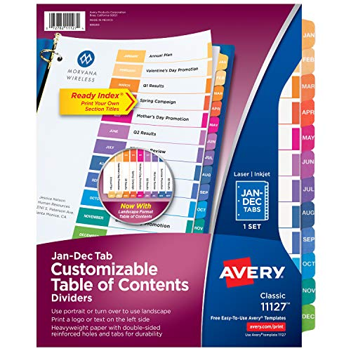 (Avery Ready Index Monthly Dividers, Customizable Table of Contents, Classic Multicolor Tabs, 1 Set (11127))