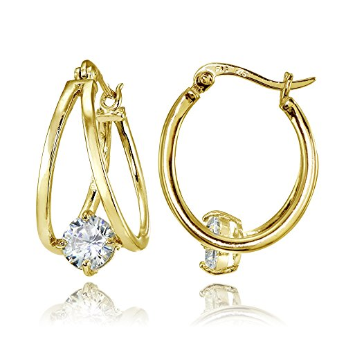 (Yellow Gold Flashed Sterling Silver Oval Double Hoop Cubic Zirconia Earrings)
