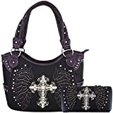 Western Style Cross Laser Cut Wings Purse Concealed Carry Handbags Women Country Shoulder Bag Wallet Set (Black/Purple Set)