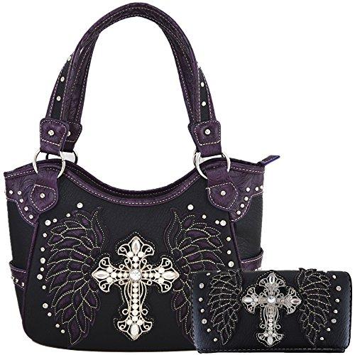 Style Handbag Western (Western Style Cross Laser Cut Wings Purse Concealed Carry Handbags Women Country Shoulder Bag Wallet Set (Black/Purple Set))