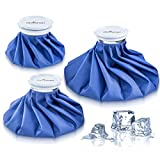 Ice Bag Packs - Set of 3 Hot & Cold Reusable Ice Bags, Instant Relief From Pain And Swelling - Flexible Design to Perfectly Contour Body Parts - Comes In Size 6, 9 and 11 inch - No Leaks, No Drips